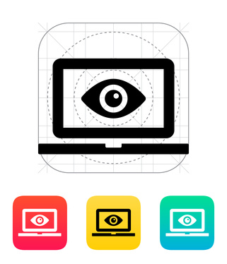 Laptop monitoring icon. Vector illustration.