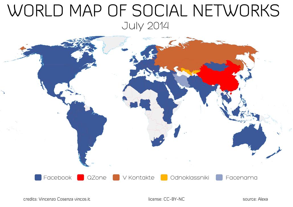 Facebook no es líder en todos los países